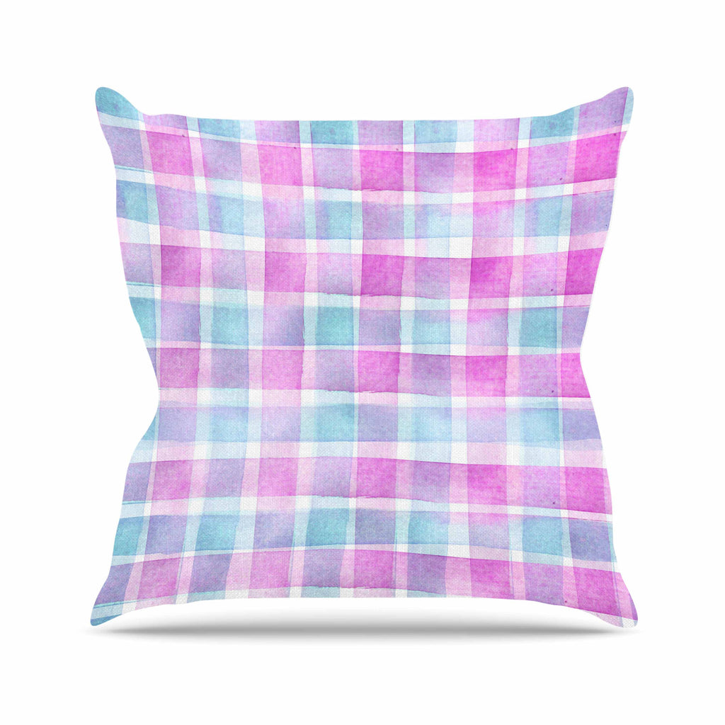 "Michelle Drew ""Watercolour Checked Tartan Sin"" Magenta Plaid Throw Pillow - KESS InHouse  - 1"