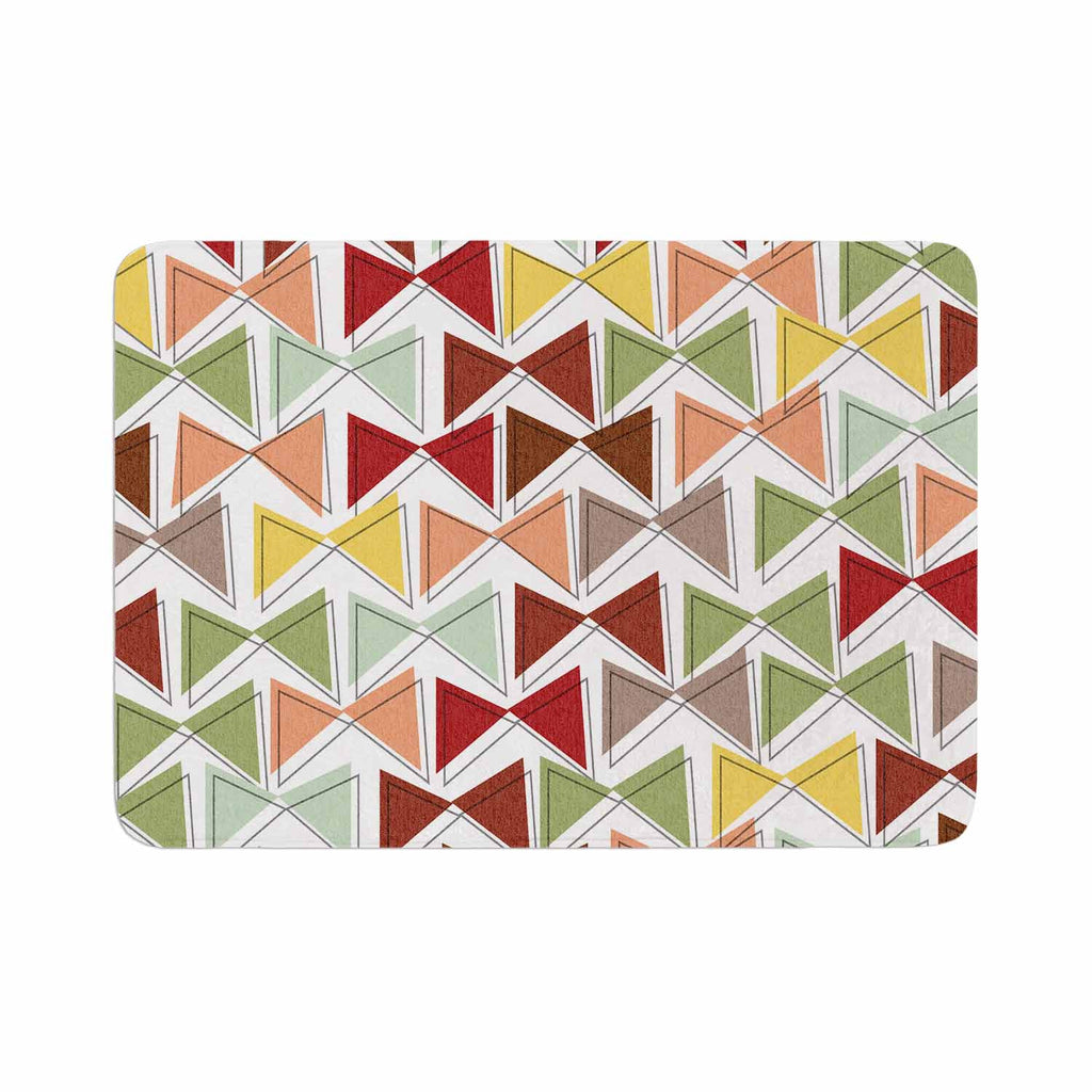"Michelle Drew ""Bowties"" Red Maroon Memory Foam Bath Mat - KESS InHouse"
