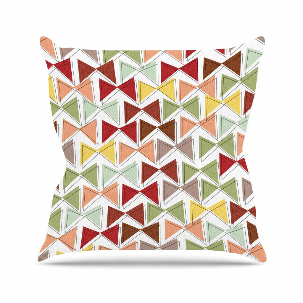 "Michelle Drew ""Bowties"" Red Maroon Outdoor Throw Pillow - KESS InHouse  - 1"