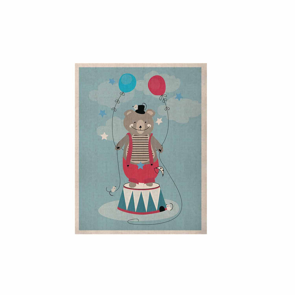 "Michelle Drew ""Circus Bear"" Blue White KESS Naturals Canvas (Frame not Included) - KESS InHouse  - 1"