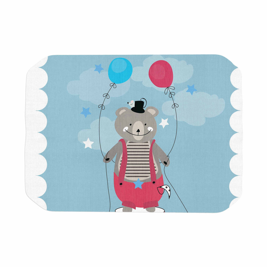 "Michelle Drew ""Circus Bear"" Blue White Place Mat - KESS InHouse"