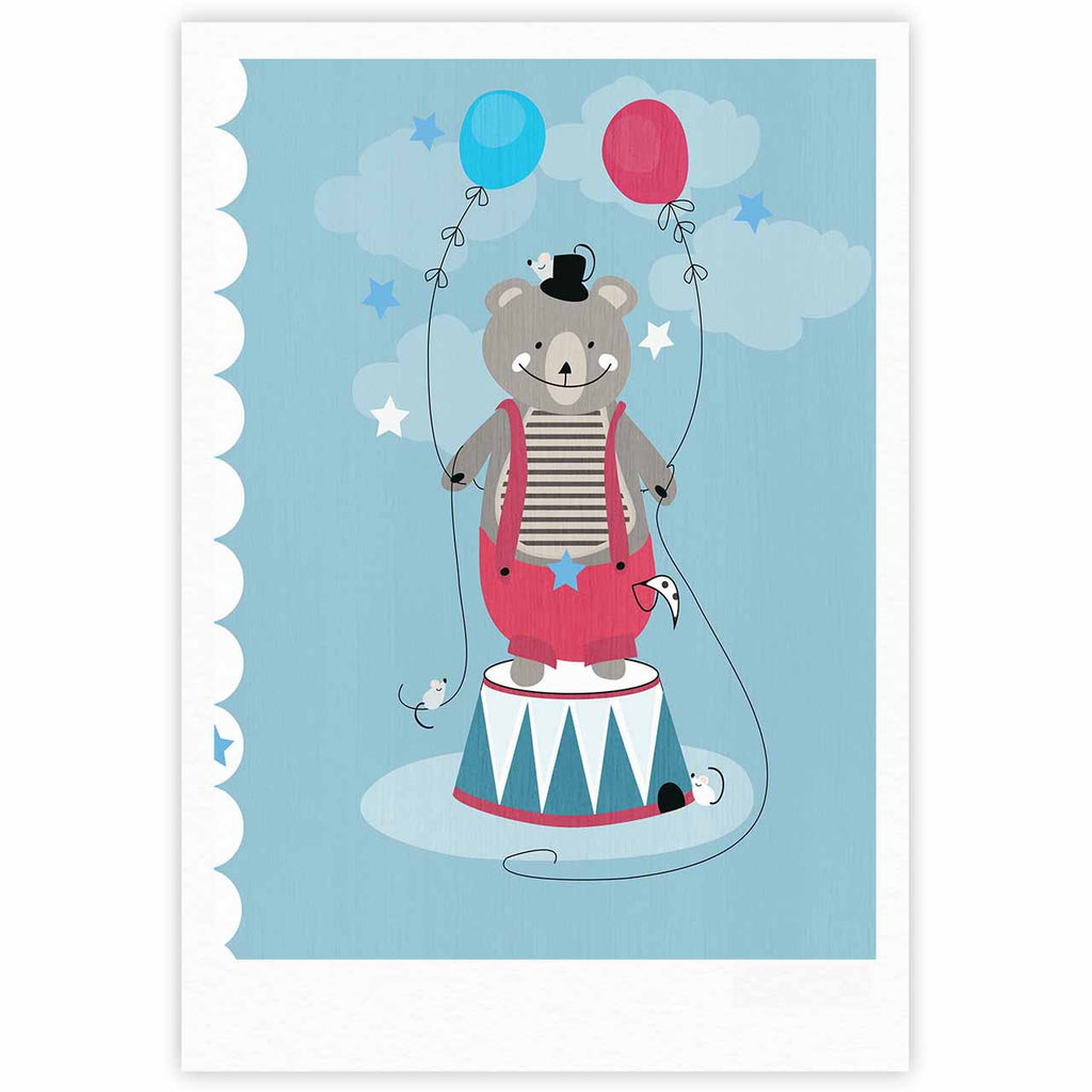 "Michelle Drew ""Circus Bear"" Blue White Fine Art Gallery Print - KESS InHouse"