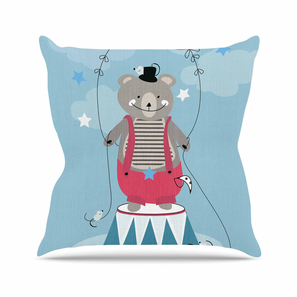 "Michelle Drew ""Circus Bear"" Blue White Outdoor Throw Pillow - KESS InHouse  - 1"