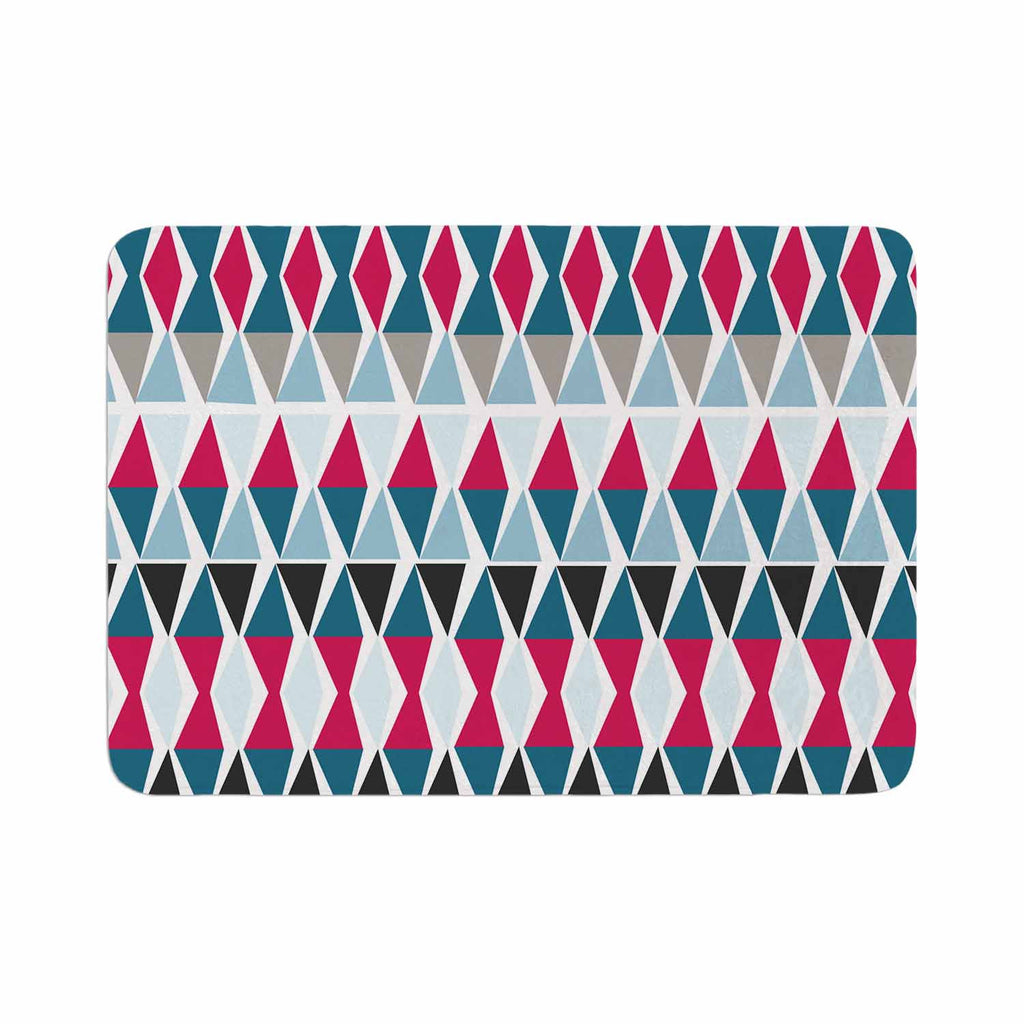 "Michelle Drew ""Triangle Circus Drums"" Blue Red Memory Foam Bath Mat - KESS InHouse"