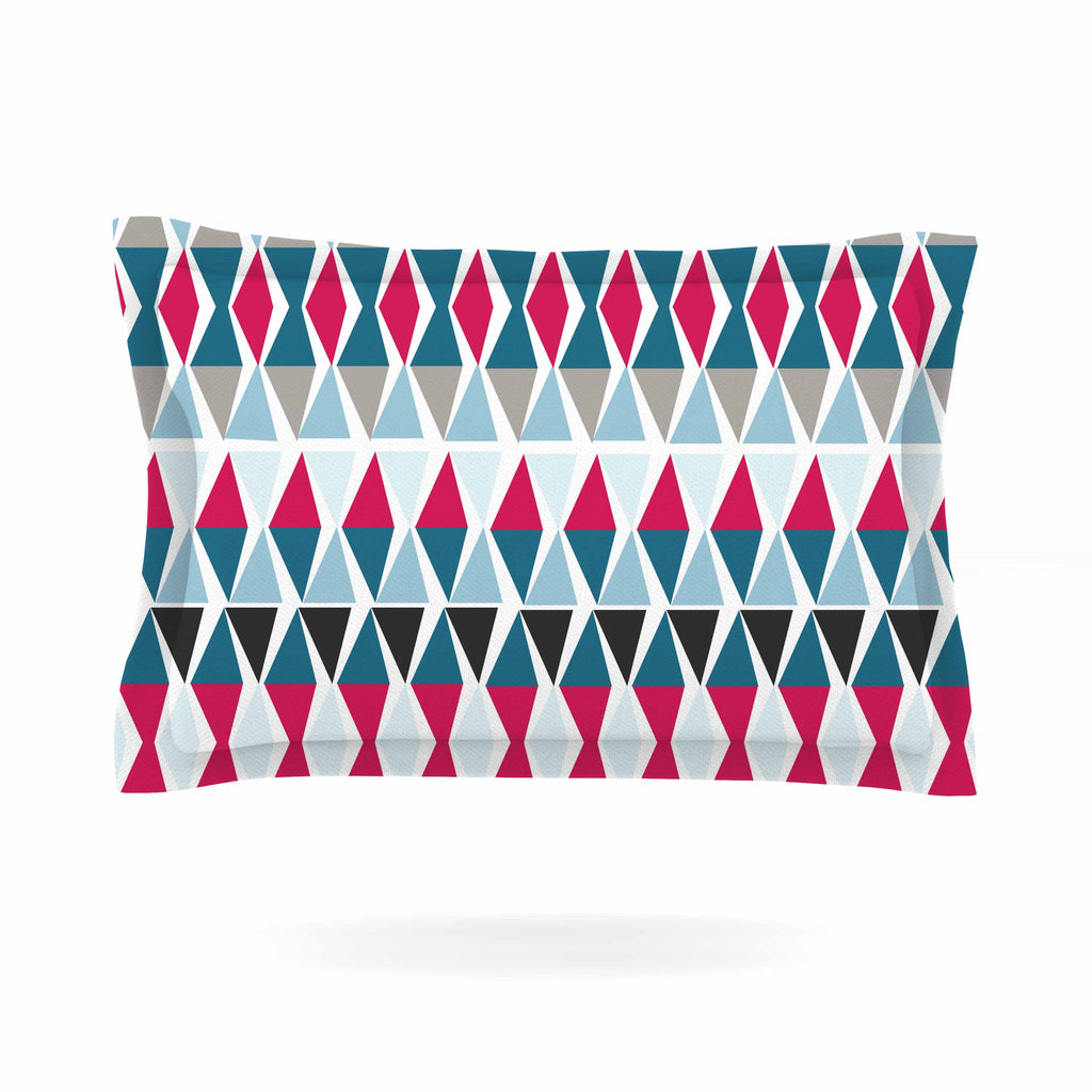 "Michelle Drew ""Triangle Circus Drums"" Blue Red Pillow Sham - KESS InHouse  - 1"