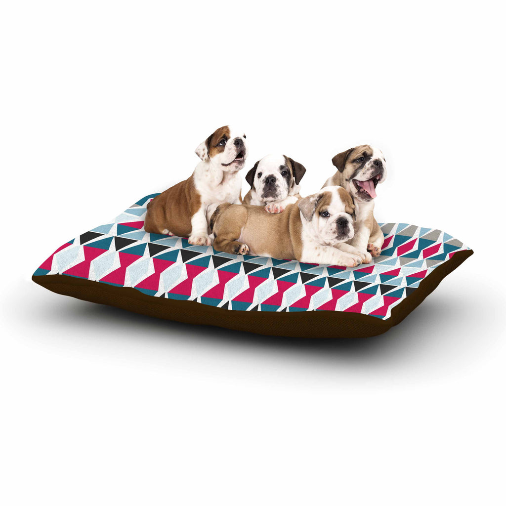 "Michelle Drew ""Triangle Circus Drums"" Blue Red Dog Bed - KESS InHouse  - 1"