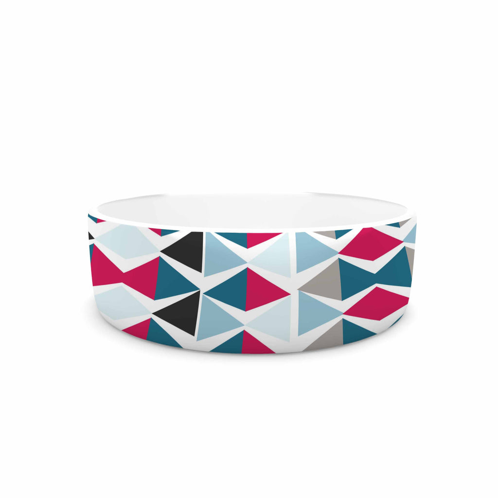 "Michelle Drew ""Triangle Circus Drums"" Blue Red Pet Bowl - KESS InHouse"