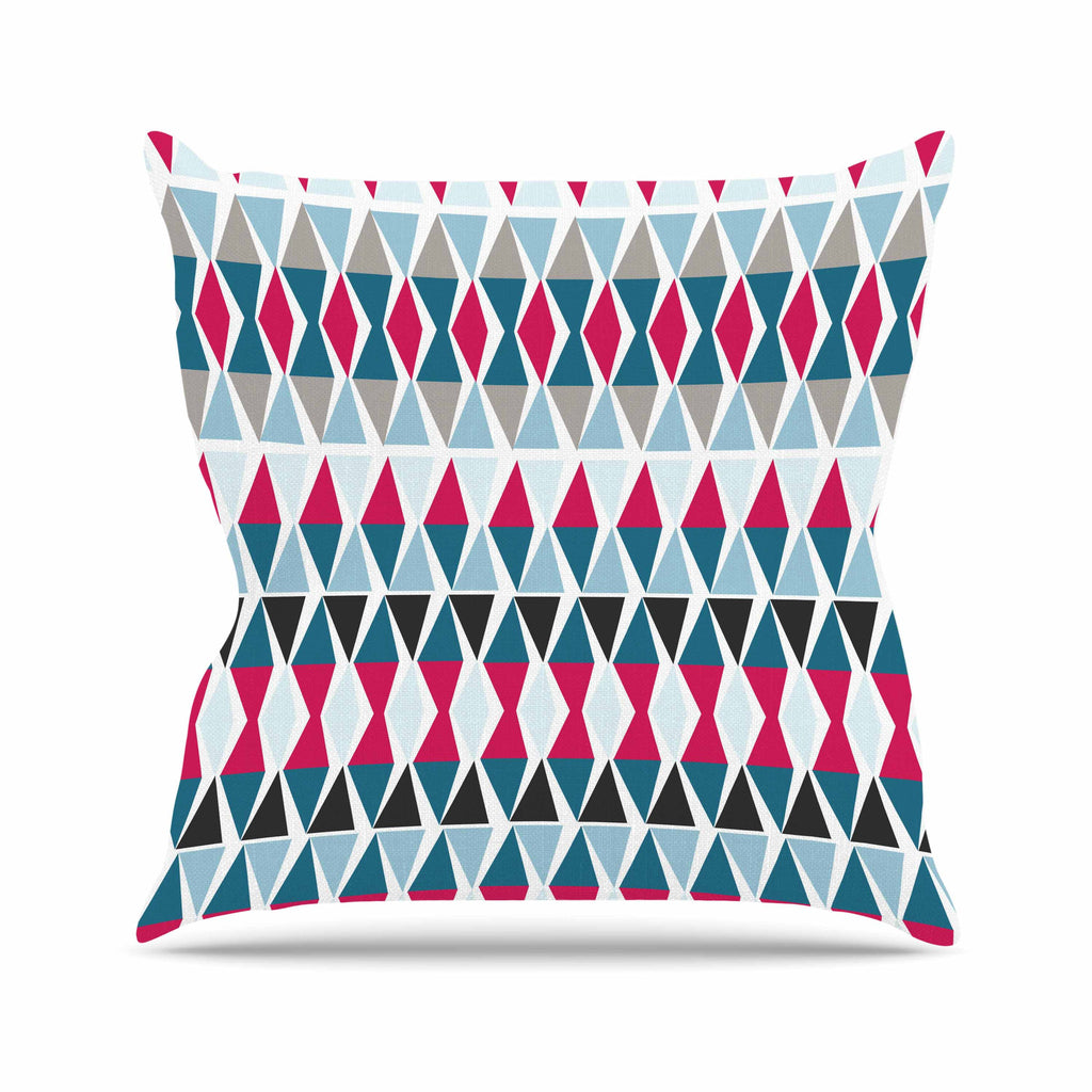 "Michelle Drew ""Triangle Circus Drums"" Blue Red Outdoor Throw Pillow - KESS InHouse  - 1"