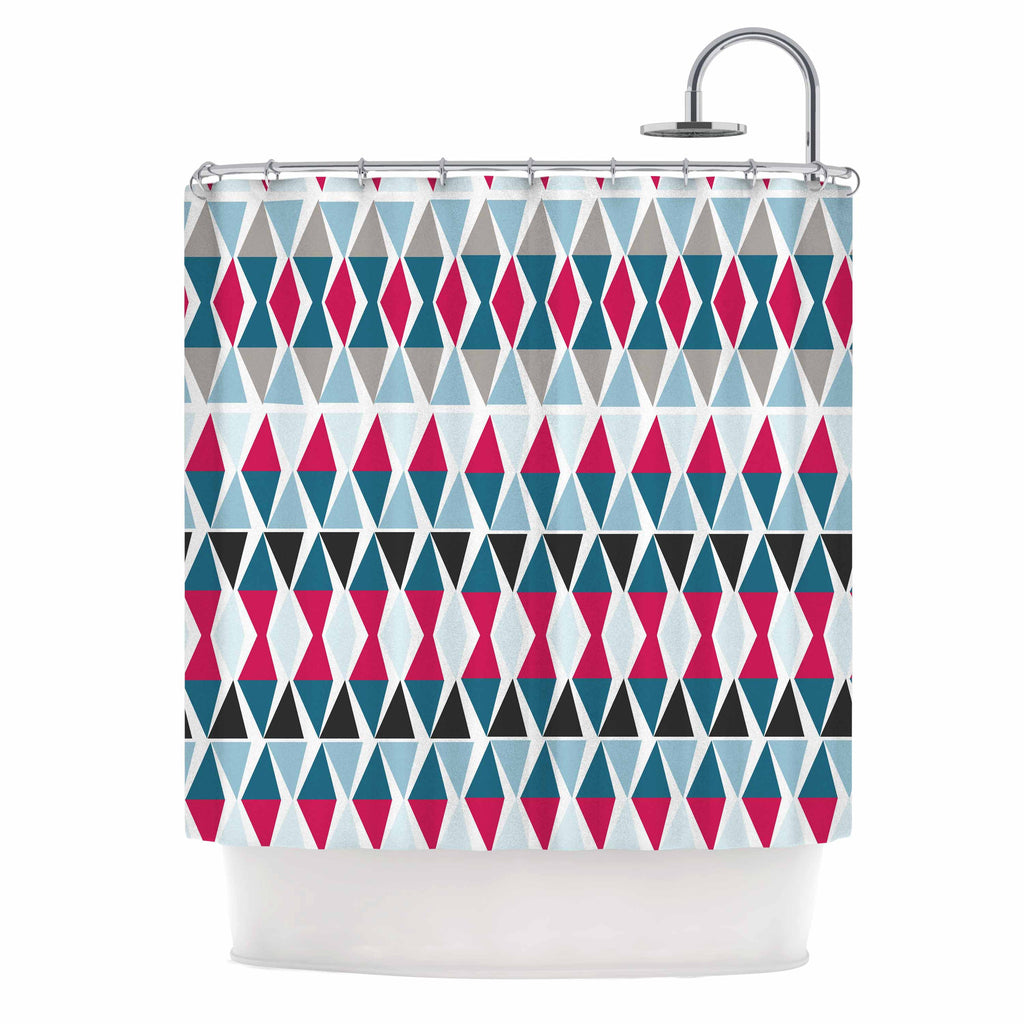 "Michelle Drew ""Triangle Circus Drums"" Blue Red Shower Curtain - KESS InHouse"