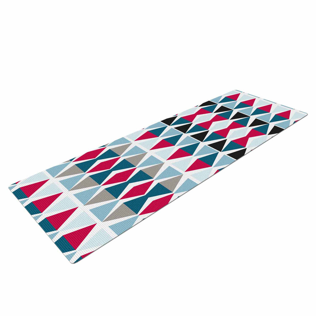 "Michelle Drew ""Triangle Circus Drums"" Blue Red Yoga Mat - KESS InHouse  - 1"