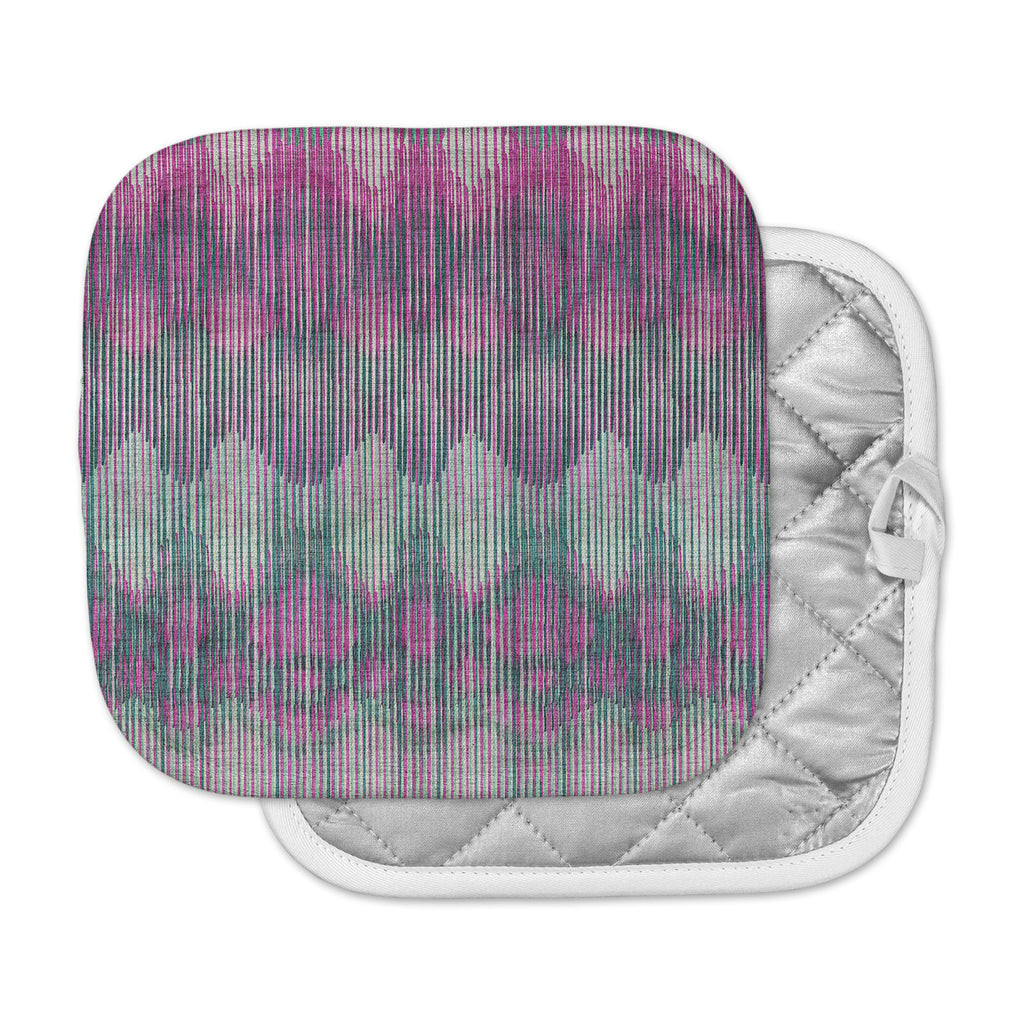 "Michelle Drew ""Vintage Ikat Pink"" Green Magenta Pot Holder"