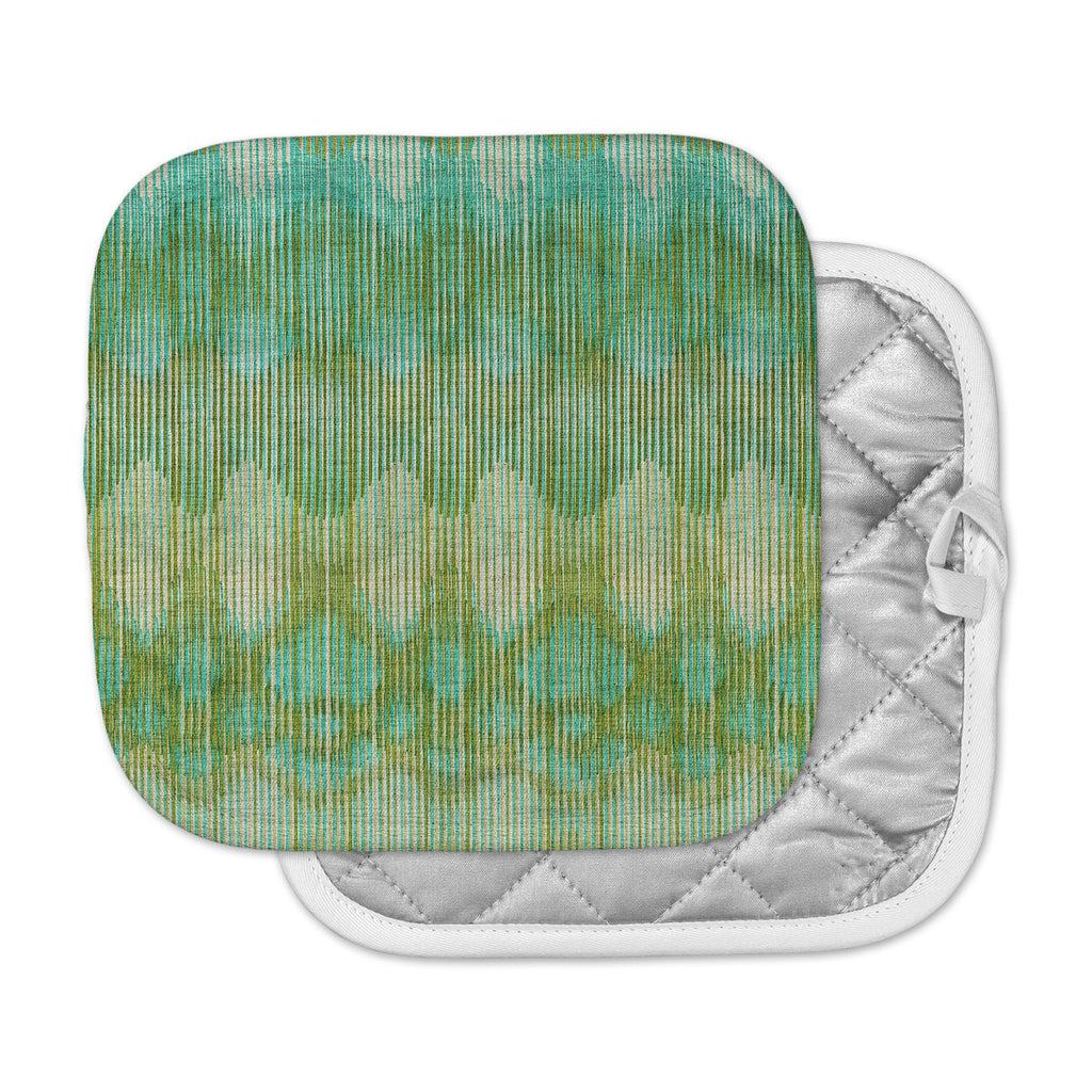 "Michelle Drew ""Vintage Ikat Green Gold"" Gold Green Pot Holder"