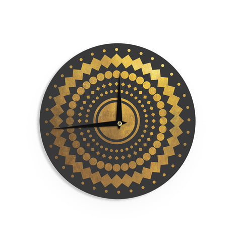 "Matt Eklund ""Gilded Confetti"" Gold Geometric Wall Clock - Outlet Item"