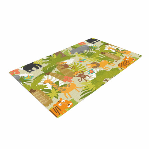 "petit griffin ""Roar Of The Jungle"" Green Animals Woven Area Rug - Outlet Item"