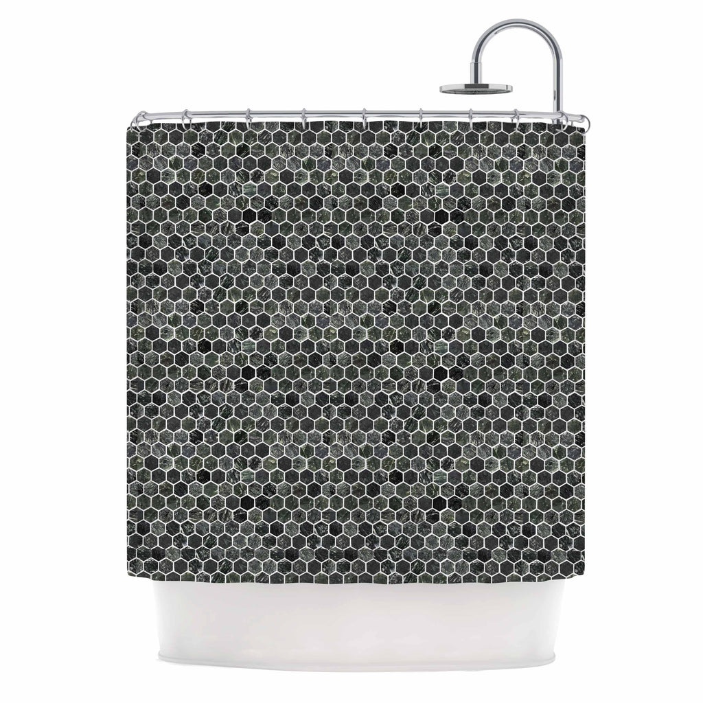 "Petit Griffin ""Marble"" Gray Abstract Shower Curtain - Outlet Item"