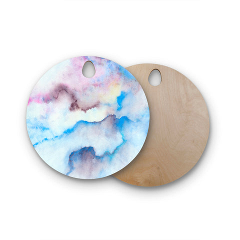 "Marco Gonzalez ""A 0 17"" Blue Pink Abstract Modern Painting Mixed Media Round Wooden Cutting Board"