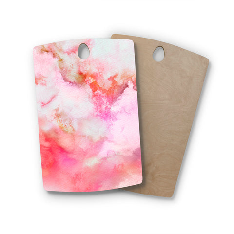 "Marco Gonzalez ""A 0 3"" Pink Magenta Abstract Modern Painting Mixed Media Rectangle Wooden Cutting Board"