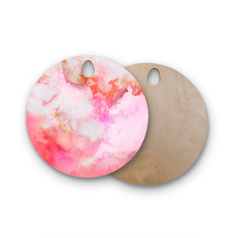 "Marco Gonzalez ""A 0 3"" Pink Magenta Abstract Modern Painting Mixed Media Round Wooden Cutting Board"