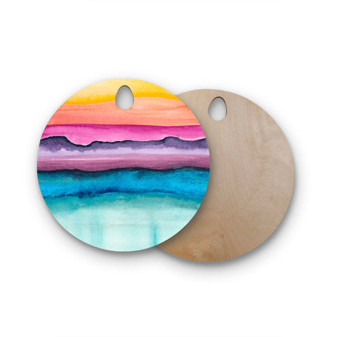 "Marco Gonzalez ""A 0 20"" Purple Blue Abstract Modern Painting Mixed Media Round Wooden Cutting Board"
