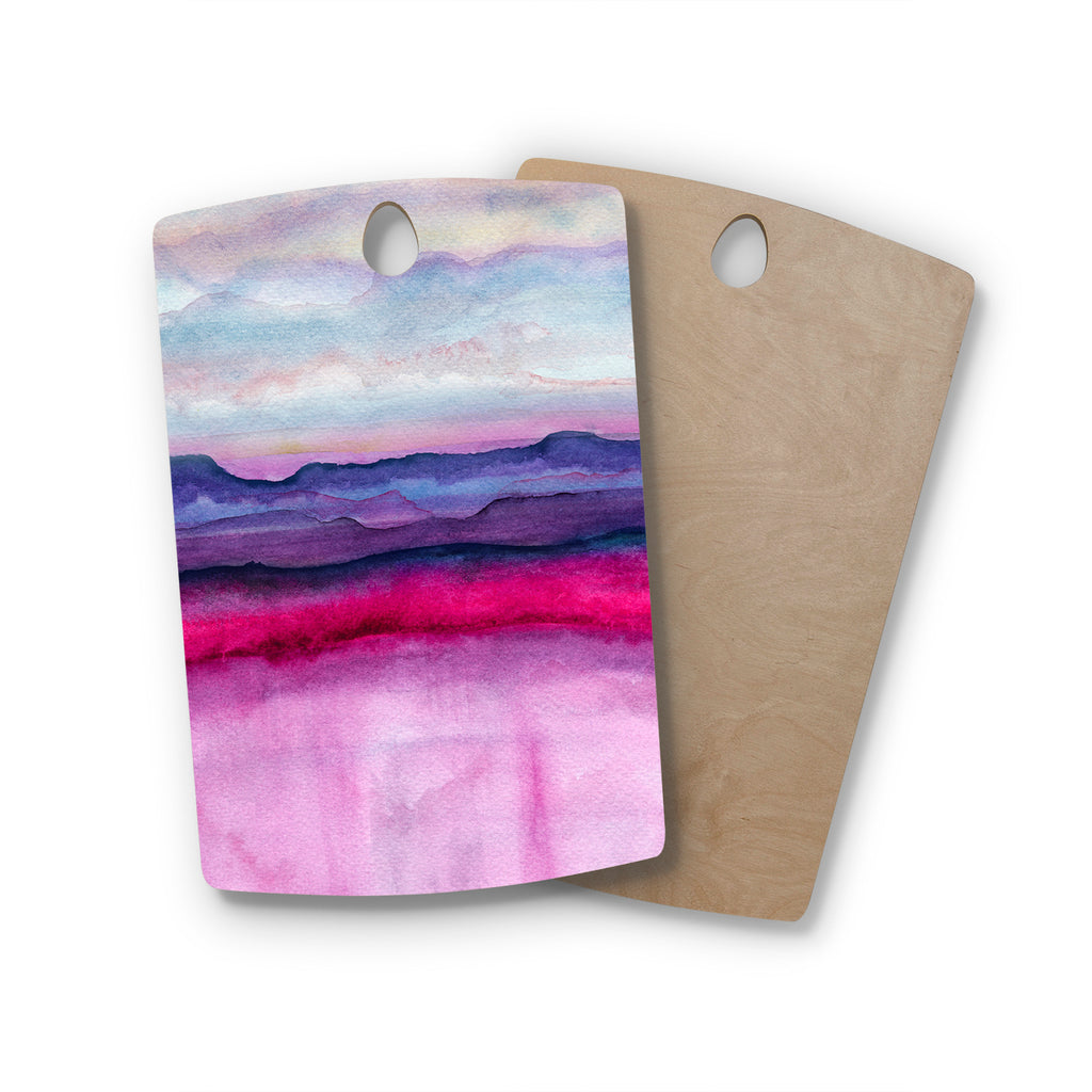 "Marco Gonzalez ""A 0 24"" Purple Pink Abstract Modern Painting Mixed Media Rectangle Wooden Cutting Board"