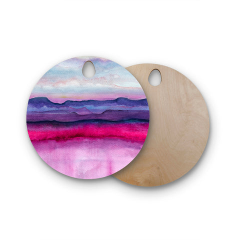 "Marco Gonzalez ""A 0 24"" Purple Pink Abstract Modern Painting Mixed Media Round Wooden Cutting Board"