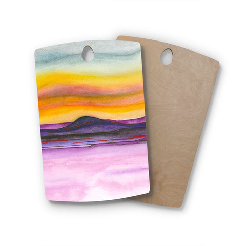 "Marco Gonzalez ""Abstract Nature 06"" Purple Yellow Abstract Nature Painting Mixed Media Rectangle Wooden Cutting Board"