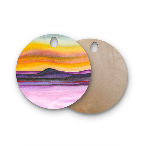 "Marco Gonzalez ""Abstract Nature 06"" Purple Yellow Abstract Nature Painting Mixed Media Round Wooden Cutting Board"