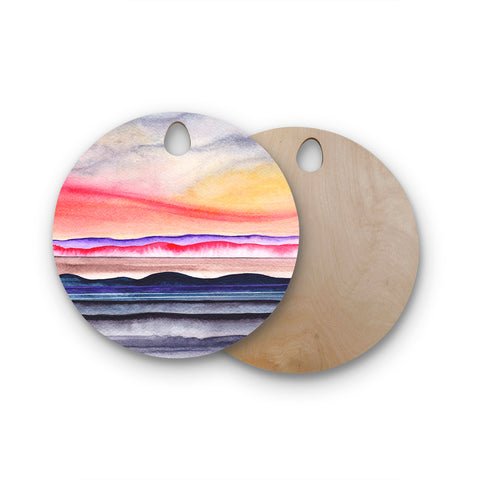 "Marco Gonzalez ""Abstract Nature 07"" Multicolor Blue Abstract Nature Painting Mixed Media Round Wooden Cutting Board"