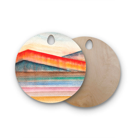 "Marco Gonzalez ""A 0 31"" Multicolor Pastel Abstract Geometric Painting Mixed Media Round Wooden Cutting Board"