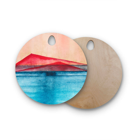 "Marco Gonzalez ""A 0 33"" Blue Red Abstract Geometric Painting Mixed Media Round Wooden Cutting Board"
