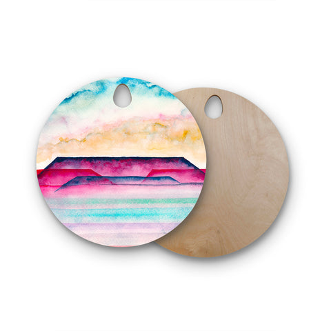 "Marco Gonzalez ""A 0 34"" Purple Pastel Abstract Geometric Painting Mixed Media Round Wooden Cutting Board"