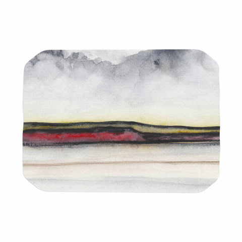 "Marco Gonzalez ""A 0 35"" Gray Red Abstract Modern Painting Mixed Media Place Mat"