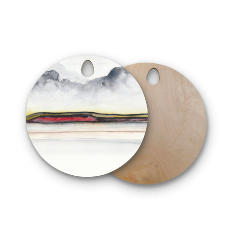 "Marco Gonzalez ""A 0 35"" Gray Red Abstract Modern Painting Mixed Media Round Wooden Cutting Board"