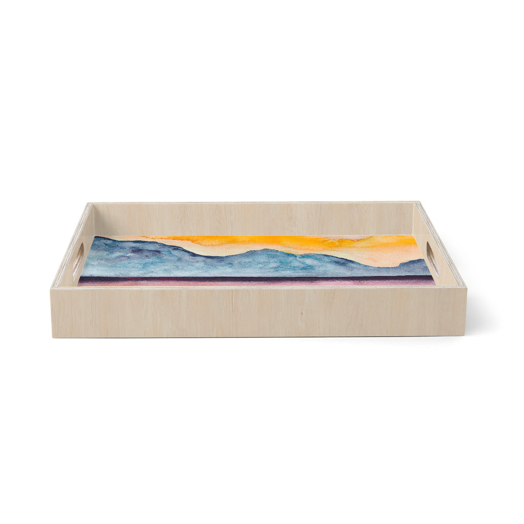 "Marco Gonzalez ""A 0 36"" Multicolor Orange Abstract Nature Painting Mixed Media Birchwood Tray"