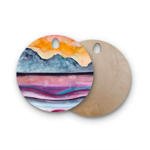 "Marco Gonzalez ""A 0 36"" Multicolor Orange Abstract Nature Painting Mixed Media Round Wooden Cutting Board"