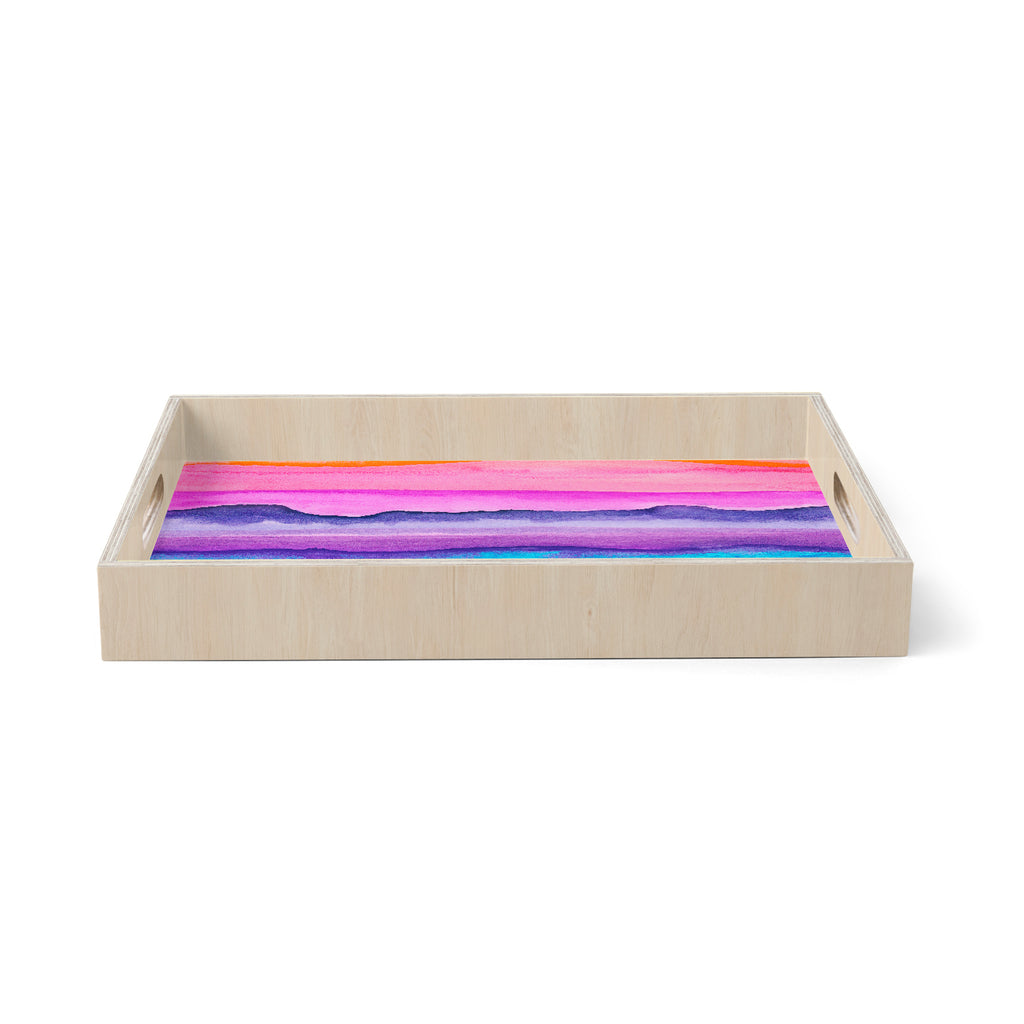 "Marco Gonzalez ""A 0 37"" Multicolor Purple Abstract Modern Painting Mixed Media Birchwood Tray"