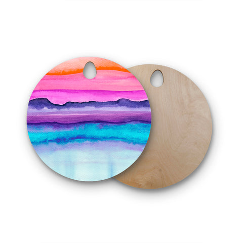 "Marco Gonzalez ""A 0 37"" Multicolor Purple Abstract Modern Painting Mixed Media Round Wooden Cutting Board"