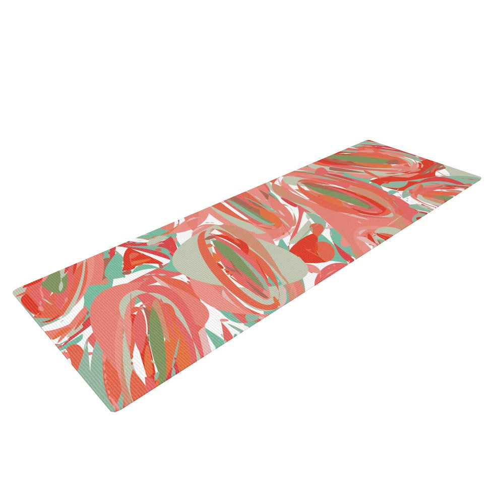 "Matthias Hennig ""Go Left Red"" Yoga Mat - KESS InHouse  - 1"