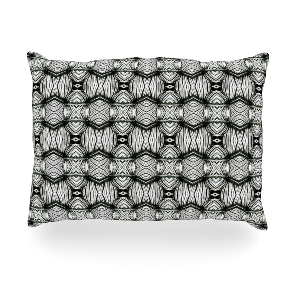 "Matthias Hennig ""Flor"" Black White Oblong Pillow - KESS InHouse"