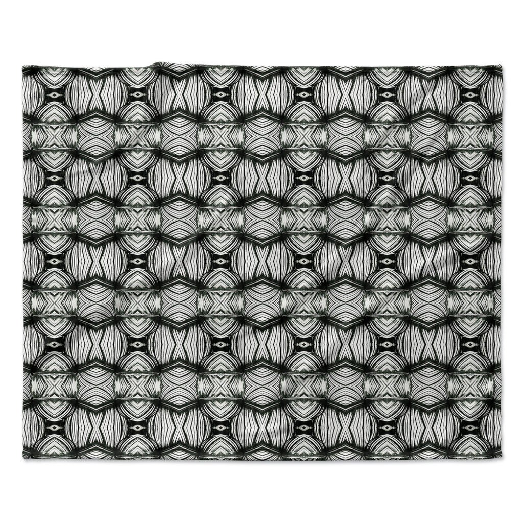 "Matthias Hennig ""Flor"" Black White Fleece Throw Blanket"