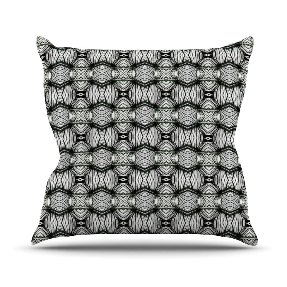 "Matthias Hennig ""Flor"" Black White Throw Pillow - KESS InHouse  - 1"
