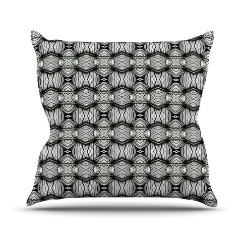 "Matthias Hennig ""Flor"" Black White Outdoor Throw Pillow - KESS InHouse  - 1"