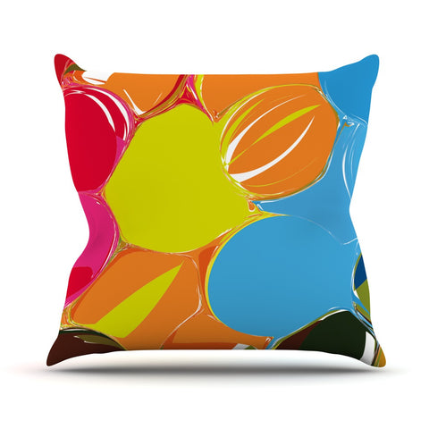 "Matthias Hennig ""Bubbles"" Rainbow Circles Throw Pillow - KESS InHouse  - 1"
