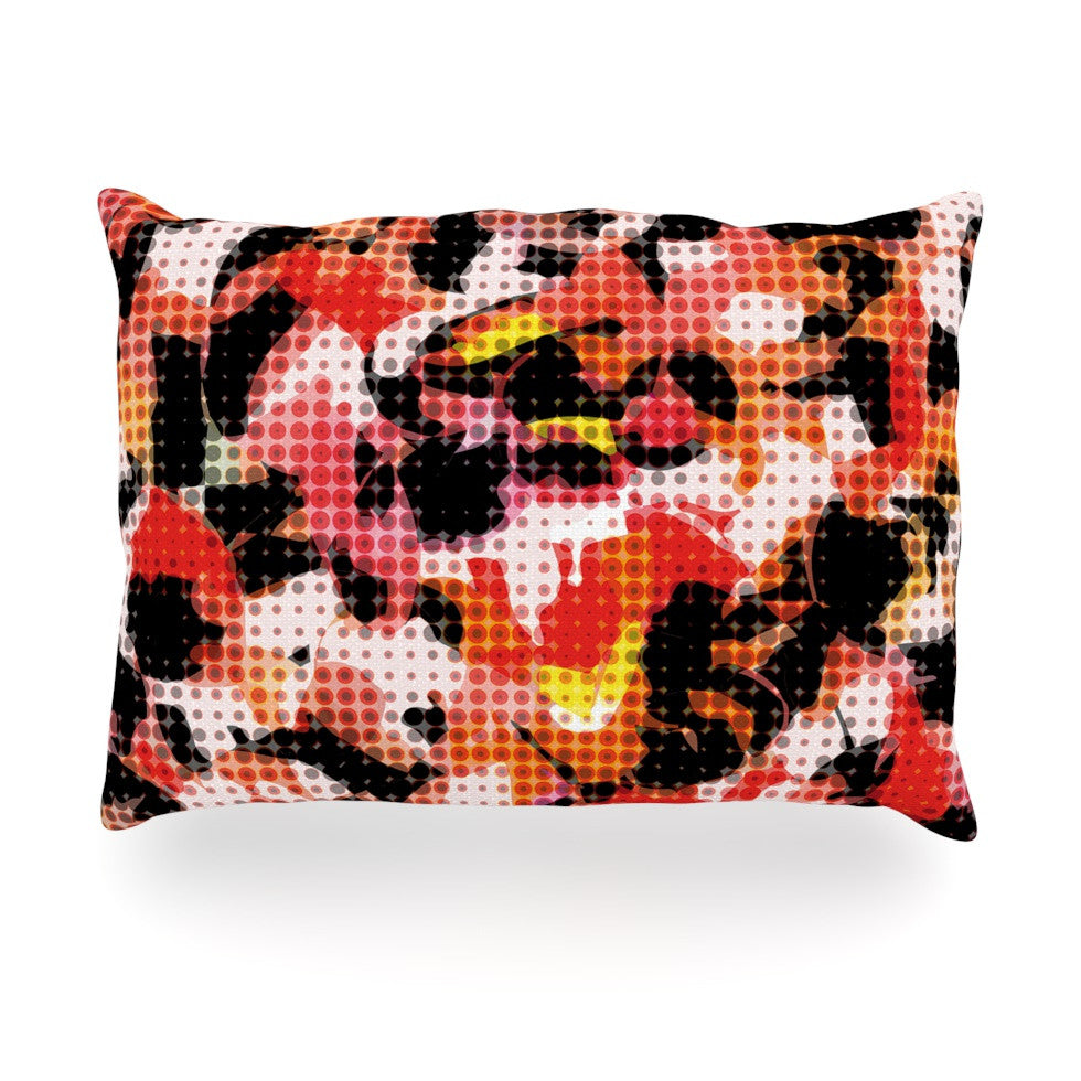 "Matthias Hennig ""Camouflage Grid"" Orange Red Oblong Pillow - KESS InHouse"