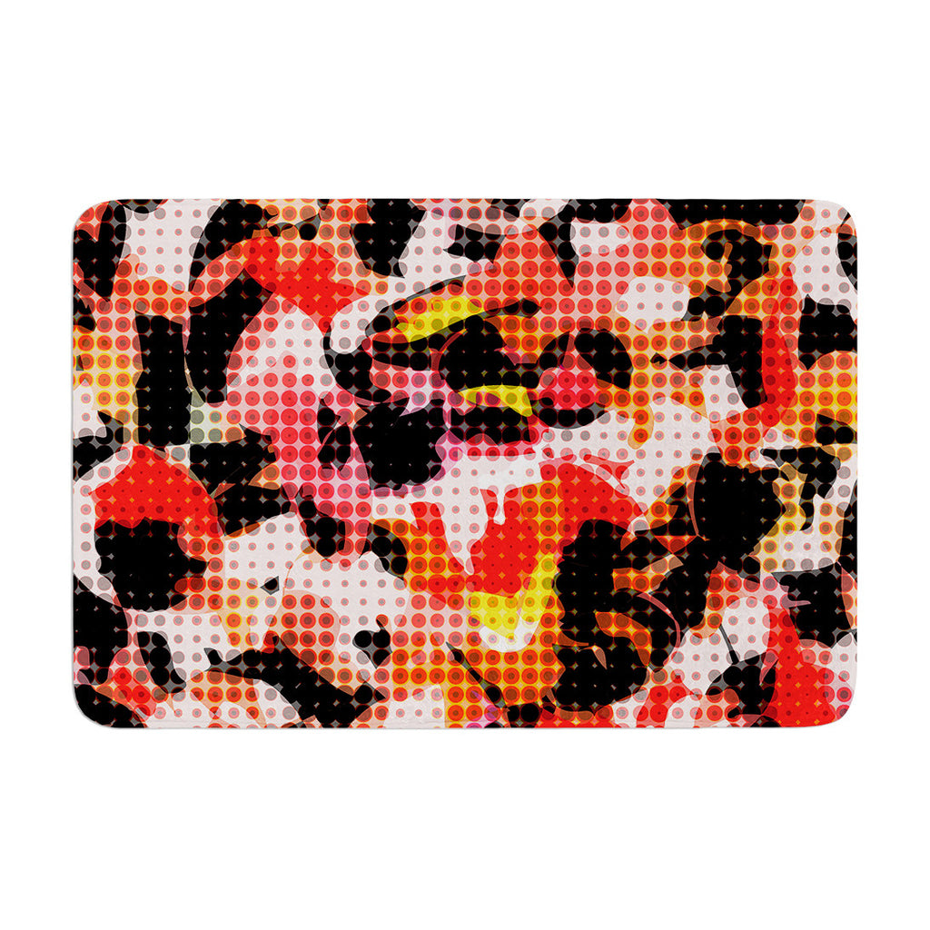 "Matthias Hennig ""Camouflage Grid"" Orange Red Memory Foam Bath Mat - KESS InHouse"