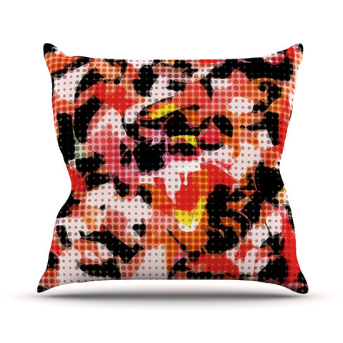 "Matthias Hennig ""Camouflage Grid"" Orange Red Outdoor Throw Pillow - KESS InHouse  - 1"