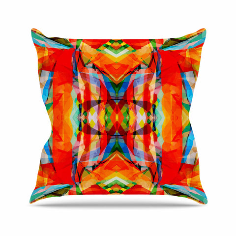 "Matthias Hennig	 ""Motley"" Orange Yellow Outdoor Throw Pillow - KESS InHouse  - 1"