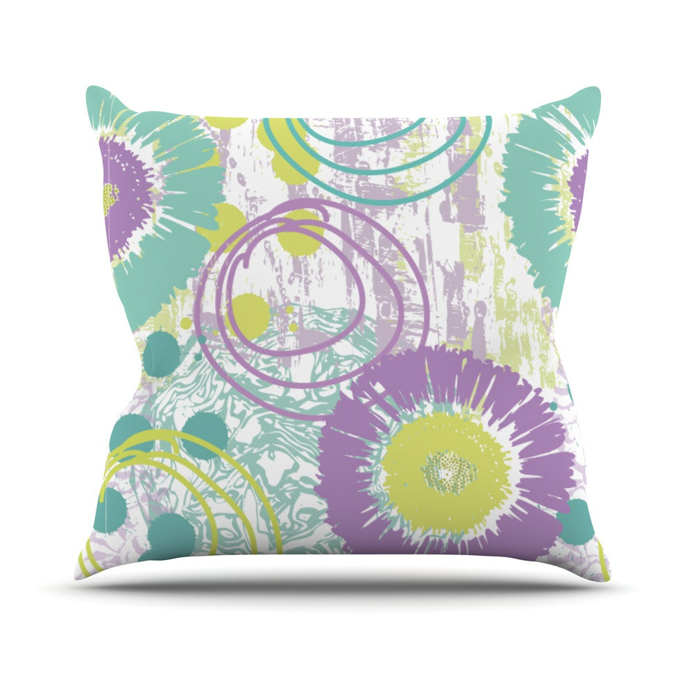 "Chickaprint ""Splatter"" Purple Teal Outdoor Throw Pillow - KESS InHouse  - 1"