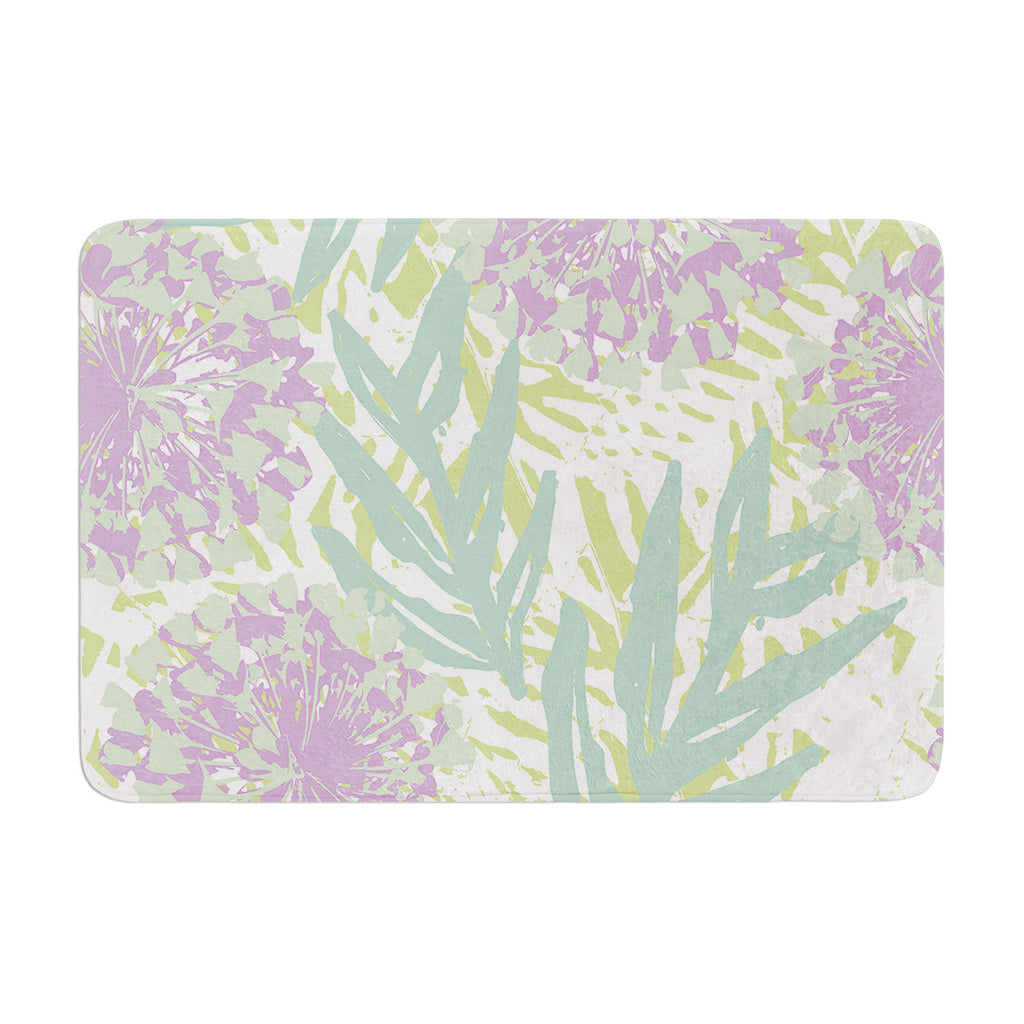 "Chickaprint ""Varen"" Purple Green Memory Foam Bath Mat - KESS InHouse"