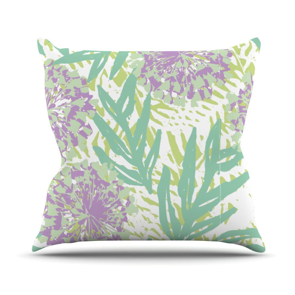 "Chickaprint ""Varen"" Purple Green Outdoor Throw Pillow - KESS InHouse  - 1"